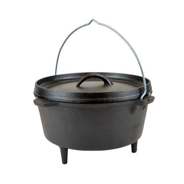 Dutch Oven 8L Cast Iron Suitable for Gas Fire Coal - Free Carry Bag