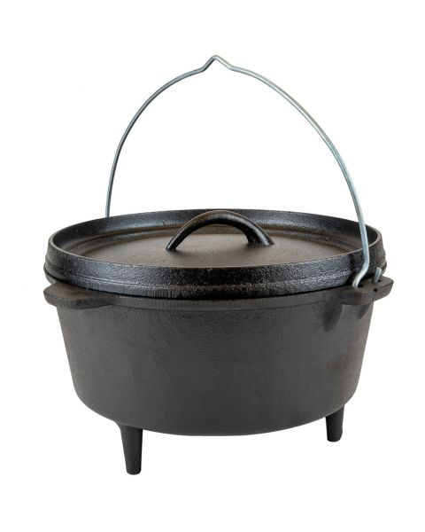 Dutch Oven 4.25L Cast Iron Suitable for Gas Fire Coal – Free Carry Bag