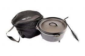Dutch Oven Set 8.5L Cast Iron Suitable for Gas Fire Coal with Lid Lifter – Free Carry Bag