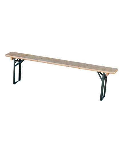 Wooden Trestle Bench with Steel Bars – Sturdy & Reliable