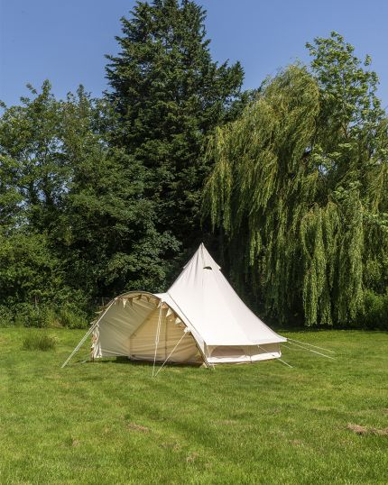4M Canopy Bell Tent with Detachable Canopy & 100% Cotton Canvas