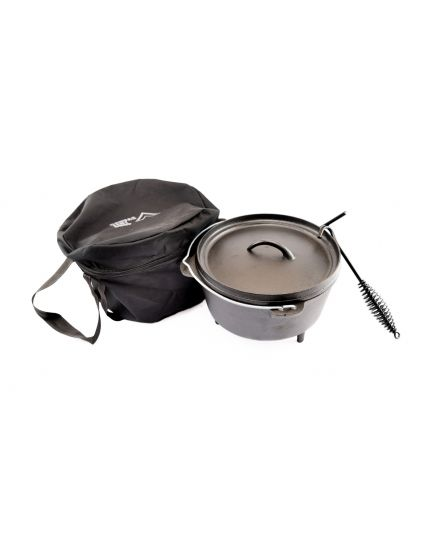 Dutch Oven Set 8L Cast Iron Suitable for Gas Fire Coal with Lid Lifter – Free Carry Bag