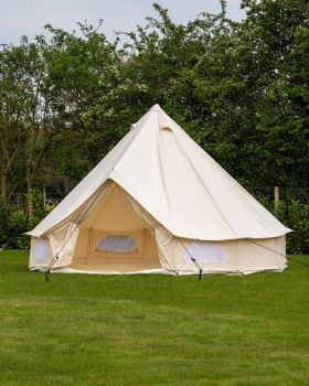 4M Spacious Bell Tent with PVC Groundsheet & 100% Cotton Canvas - Glade