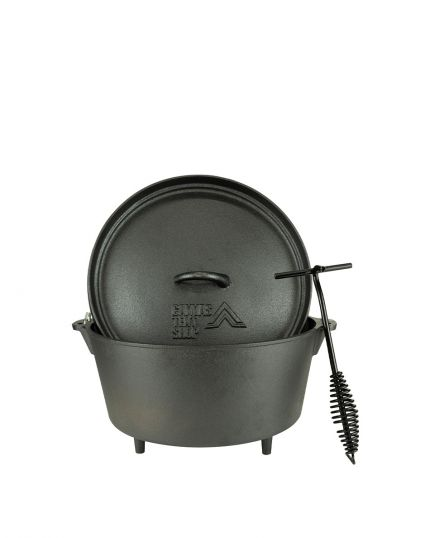 Dutch Oven Set 4.25L Cast Iron Suitable for Gas Fire Coal with Lid Lifter – Free Carry Bag